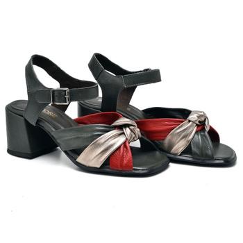 Sandália Turim Oliva/Prata Velho/Carmim - TR001/00... - Balatore Shoes