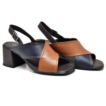 Sandália Turim Marinho/Whisky/Café - TR004/001 - Balatore Shoes