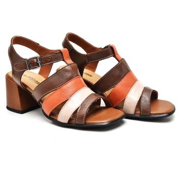 Sandália Turim Tabaco/Nude/Laranja - TR005/002 - Balatore Shoes