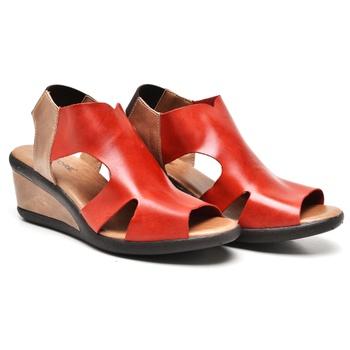 Sandália Veneza Carmim e Amêndoa - VN024/023 - Balatore Shoes
