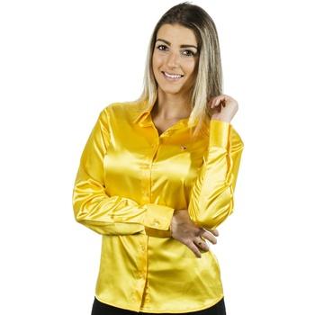 Blusa de Cetim Amarela Feminina C/ Elastano Nanett... - PIMENTAROSADA