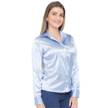 Blusa de Cetim Azul Clara Feminina C/ Elastano Aqu... - PIMENTAROSADA