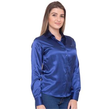 Blusa de Cetim Azul Feminina C/ Elastano Nyna - PI... - PIMENTAROSADA