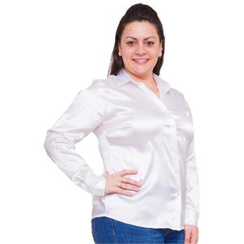 Blusa de Cetim Branca Feminina C/ Elastano Isidore... - PIMENTAROSADA