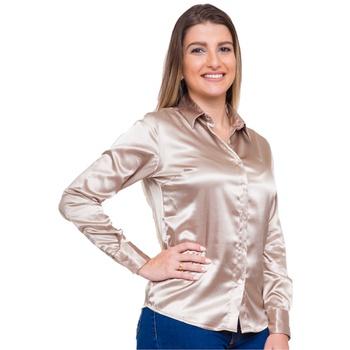 Blusa de Cetim Dourada Feminina C/ Elastano Maud L... - PIMENTAROSADA
