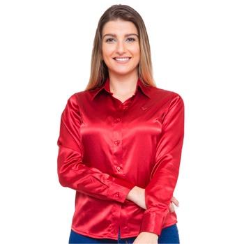 Blusa de Cetim Feminina Vermelha C/ Elastano Alber... - PIMENTAROSADA