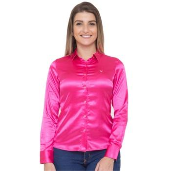 Blusa de Cetim Rosa Pink C/ Elastano Eléonore - PI... - PIMENTAROSADA