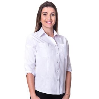 Blusa de Poá Branca Manga 3/4 Eliza - PI1065 - PIMENTAROSADA