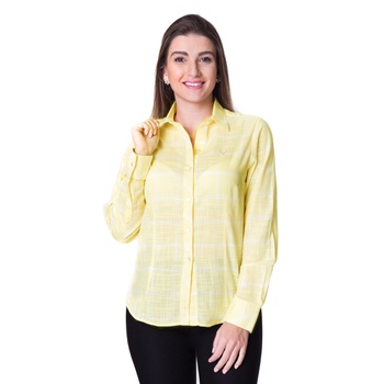 Blusa Feminina Xadrez Amarela Manga Longa Marina -... - PIMENTAROSADA
