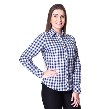 Blusa Feminina Xadrez Manga Longa Azul Adelaide - ... - PIMENTAROSADA