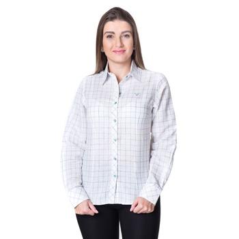Blusa Feminina Xadrez Manga Longa Heloísa - PI1001... - PIMENTAROSADA