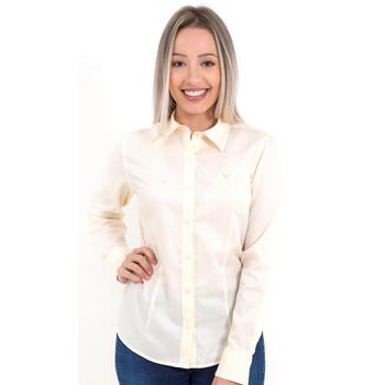 Camisa Amarelinha Clara Social Feminina Manga Long... - PIMENTAROSADA