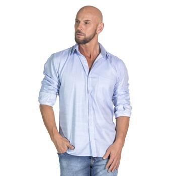 Camisa Azul Claro Social Manga Longa Masculina Rom... - PIMENTAROSADA