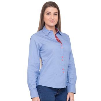 Camisa Azul Jeans Social Feminina Manga Longa Eman... - PIMENTAROSADA