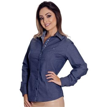 Camisa Azul Jeans Feminina Manga Longa Madeleine -... - PIMENTAROSADA