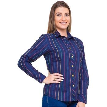 Camisa Azul Social Feminina Manga Longa Aniele - P... - PIMENTAROSADA