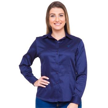 Camisa Azul Social Feminina Manga Longa Dominique ... - PIMENTAROSADA