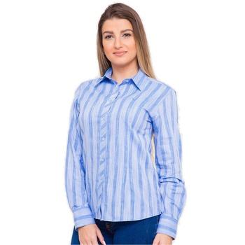 Camisa Azul Social Feminina Manga Longa Fabíolla -... - PIMENTAROSADA