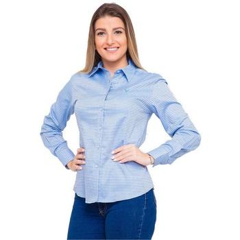 Camisa Azul Social Feminina Manga Longa Hellen - P... - PIMENTAROSADA