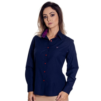 Camisa Azul Social Feminina Manga Longa Tayla - PI... - PIMENTAROSADA