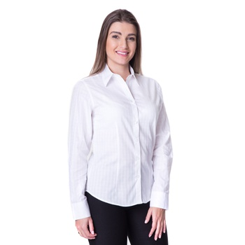 Camisa Branca Feminina Social Manga Longa Jeny - P... - PIMENTAROSADA