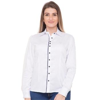 Camisa Branca Feminina Social Manga Longa Margaret... - PIMENTAROSADA