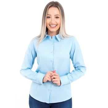 Camisa Feminina Social Azul Claro Manga Longa Vene... - PIMENTAROSADA