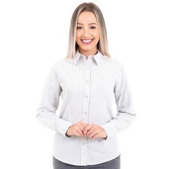 Camisa Feminina Social Listrada Manga Longa Passy ... - PIMENTAROSADA