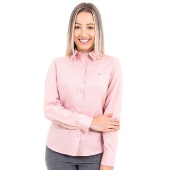 Camisa Feminina Social Rosê Claro Manga Longa Vitt... - PIMENTAROSADA