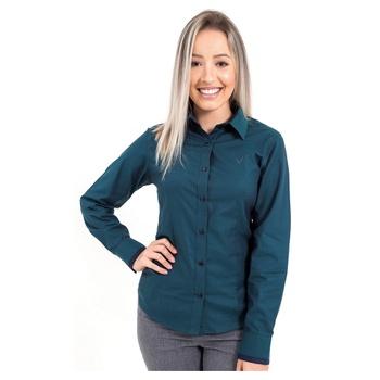 Camisa Verde Social Feminina Manga Longa Lenita - ... - PIMENTAROSADA