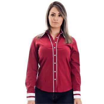 Camisa Vermelha Social Feminina Manga Longa Carola... - PIMENTAROSADA