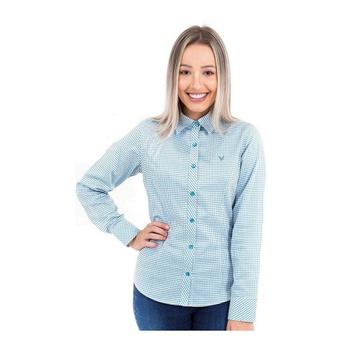 Camisa Xadrez Azul e Branco Feminina Manga Longa V... - PIMENTAROSADA