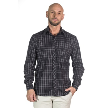 Camisa Xadrez Preto Social Manga Longa Masculina T... - PIMENTAROSADA