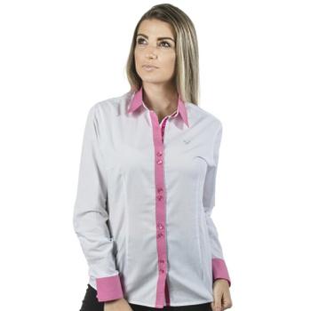 Camisa Branca Social Feminina Manga Longa Lívia - ... - PIMENTAROSADA