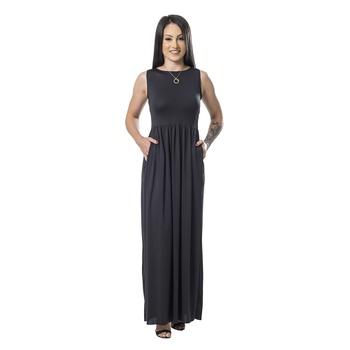 Vestido Longo Preto C/ Bolsos Maytê - PINI040 - PIMENTAROSADA