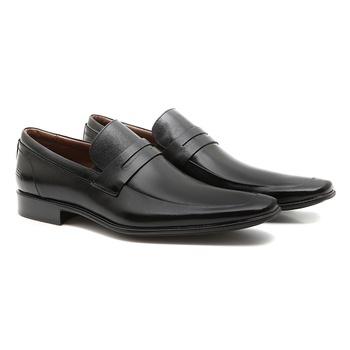 Sapato Masculino Social Loafer Basko Preto em Cour... - SERGIO`S