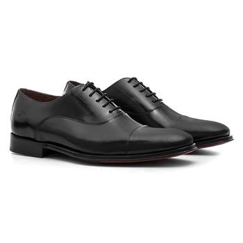Sapato Masculino Social Oxford Preto em Couro Legí... - SERGIO`S
