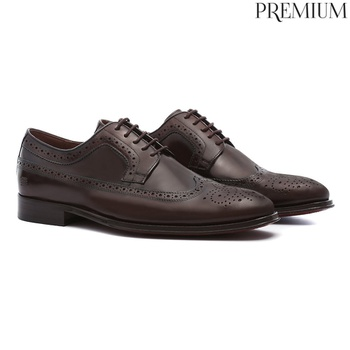 Sapato Masculino Social Derby Brogue Marrom em Cou... - SERGIO`S