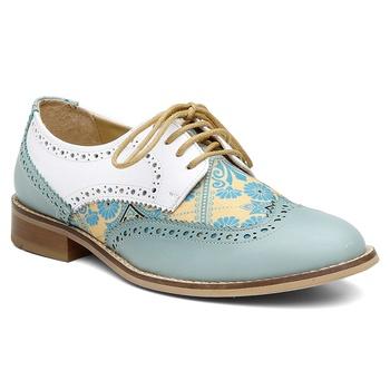 Oxford Violanta Lindoia Azul Branco - Violanta Calçados Femininos