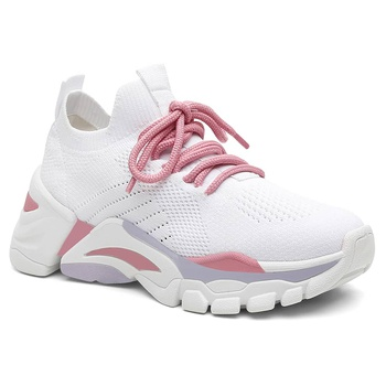 Tênis Casual Violanta Chicago Branco Rosa - Violanta Calçados Femininos