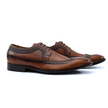 Sapato Masculino Brogue de Couro Café