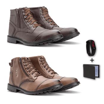 Kit Com 2 Pares Chocolate/Café 501/502 + carteira ... - Fratelli Outlet | Especialista em Sapatos Sociais de couro