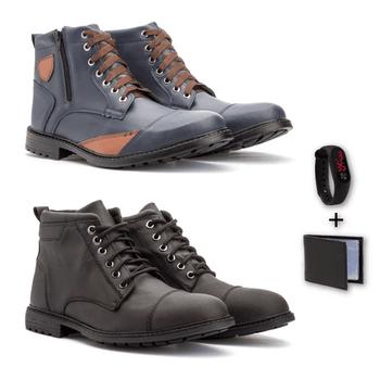 Kit Com 2 Pares coturno: Azul/Preto + relógio e ca... - Fratelli Outlet   Especialista em Sapatos Sociais de couro