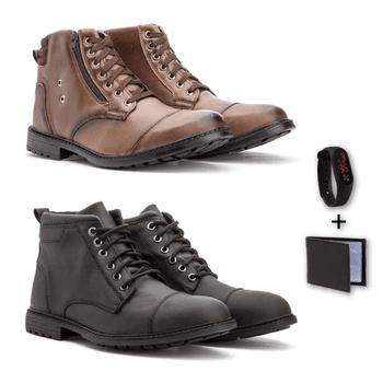 Kit Com 2 Pares coturno: 502/506 +relógio e cartei... - Fratelli Outlet   Especialista em Sapatos Sociais de couro