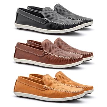 Kit 3 Pares Mocassim em couro estampado - Fratelli Outlet | Especialista em Sapatos Sociais de couro