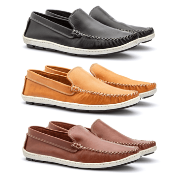 Kit 3 Pares Mocassim em Couro - Fratelli Outlet | Especialista em Sapatos Sociais de couro