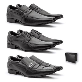 Kit 3 Pares bico fino + carteira - Fratelli Outlet | Especialista em Sapatos Sociais de couro