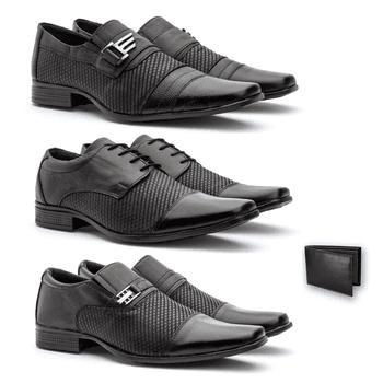 Kit 3 PARES em couro + CARTEIRA - Fratelli Outlet | Especialista em Sapatos Sociais de couro