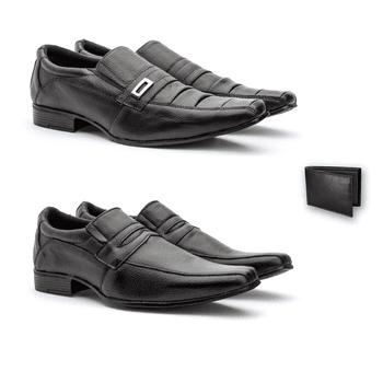 Kit 2 Pares em couro bico fino - 443/442 + carteir - Fratelli Outlet | Especialista em Sapatos Sociais de couro