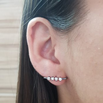 Brinco Semi Joia Ear Hook Pequeno Ródio Negro